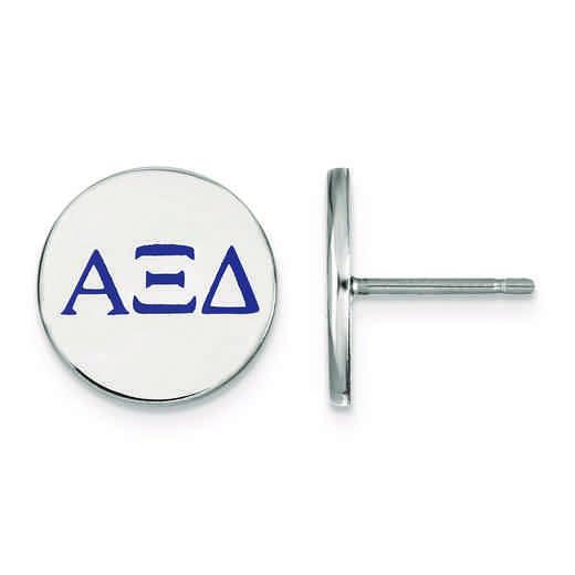 SS032AXD: Strlng Slvr LogoArt Alpha Xi Delta Enameled Post Earrings