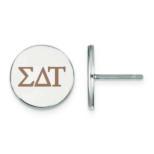 SS032SDT: Strlng Slvr LogoArt Sigma Delta Tau Enameled Post Earrings