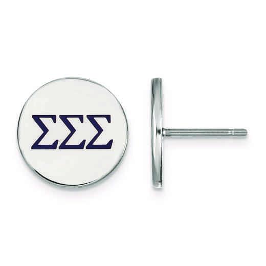 Logoart Sterling Silver Gp Phi Sigma Sigma Medium Circle Pendant