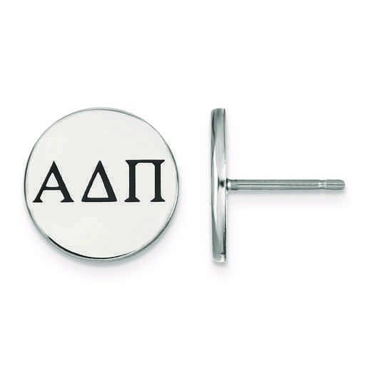 SS033ADP: Strlng Slvr LogoArt Alpha Delta Pi Enameled Post Earringss