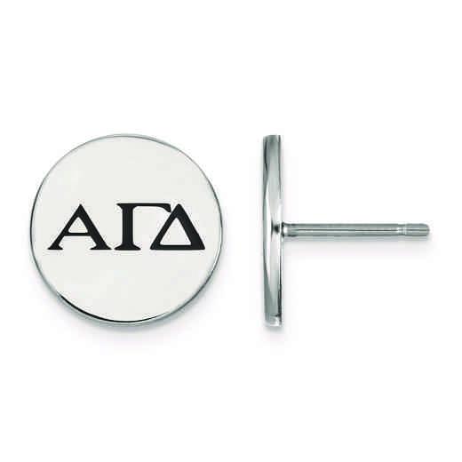 SS033AGD: Strlng Slvr LogoArt Alpha Gamma Delta Enameled Post Earrings