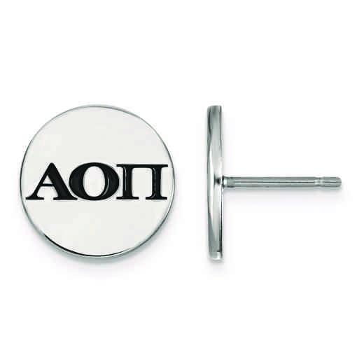 SS033AOP: Strlng Slvr LogoArt Alpha Omicron Pi Enameled Post Earrings