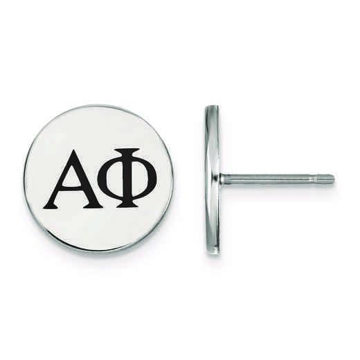 SS033APH: Strlng Slvr LogoArt Alpha Phi Enameled Post Earrings