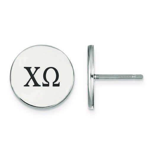 SS033CHO: Strlng Slvr LogoArt Chi Omega Enameled Post Earrings