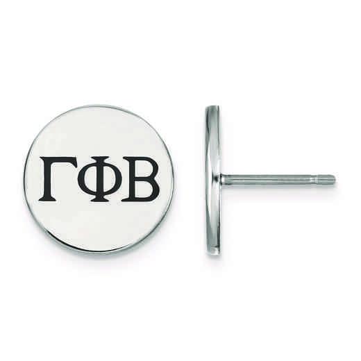SS033GPB: Strlng Slvr LogoArt Gamma Phi Beta Enameled Post Earrings