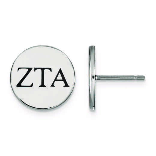 SS033ZTA: Strlng Slvr LogoArt Zeta Tau Alpha Enameled Post Earrings