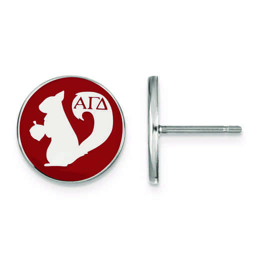 SS046AGD: Strlng Slvr LogoArt Alpha Gamma Delta Enameled Post Earrings
