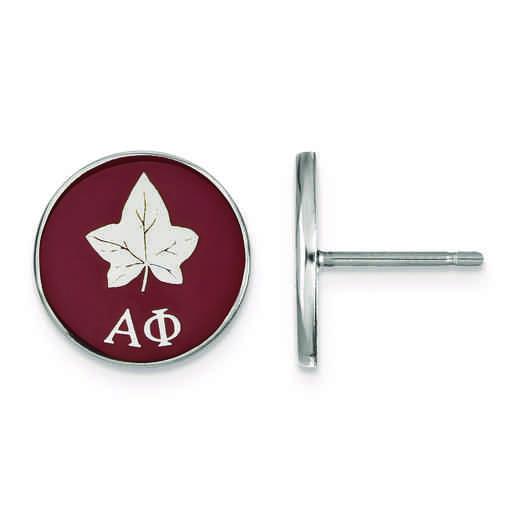 SS046APH: Strlng Slvr LogoArt Alpha Phi Enameled Post Earrings
