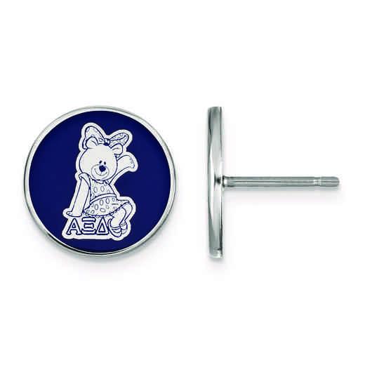 SS046AXD: Strlng Slvr LogoArt Alpha Xi Delta Enameled Post Earrings
