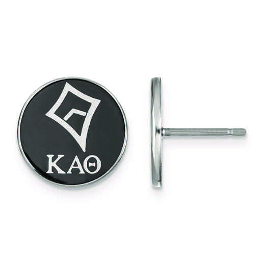 SS046KAT: Strlng Slvr LogoArt Kappa Alpha Theta Enameled Post Earrings