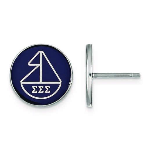 SS046SSS: Strlng Slvr LogoArt Sigma Sigma Sigma Enameled Post Earrings