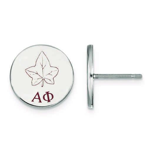 SS047APH: Strlng Slvr LogoArt Alpha Phi Enameled Post Earrings