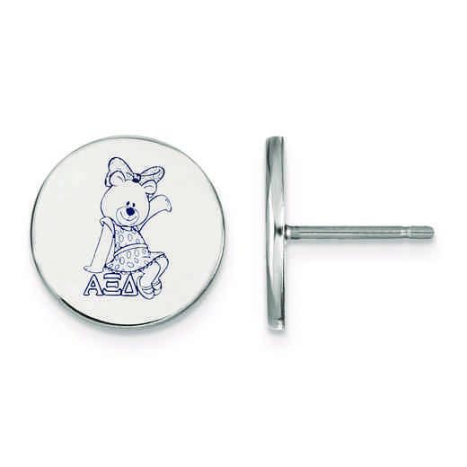 SS047AXD: Strlng Slvr LogoArt Alpha Xi Delta Enameled Post Earrings