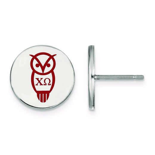 SS047CHO: Strlng Slvr LogoArt Chi Omega Enameled Post Earrings