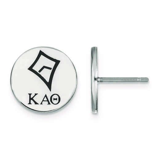 SS047KAT: Strlng Slvr LogoArt Kappa Alpha Theta Enameled Post Earrings