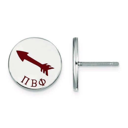 SS047PBP: Strlng Slvr LogoArt Pi Beta Phi Enameled Post Earrings