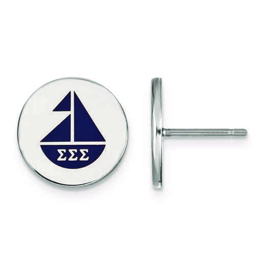 SS047SSS: Strlng Slvr LogoArt Sigma Sigma Sigma Enameled Post Earrings