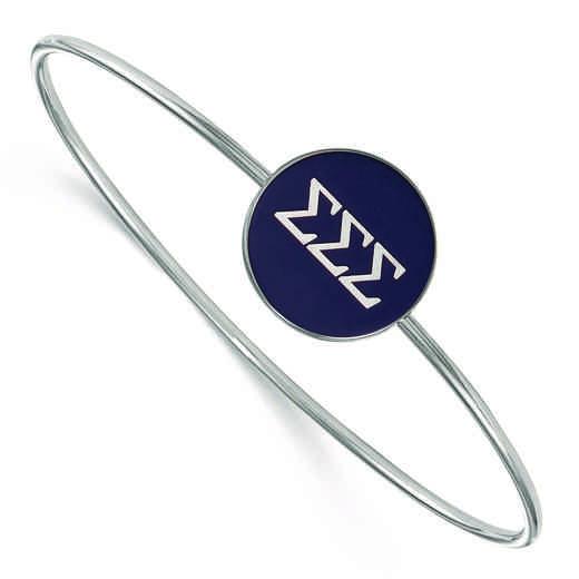 SS024SSS-7: StrlngSlvr LogoArt Sigma Sigma Sigma Enameled Slip-on Bangle