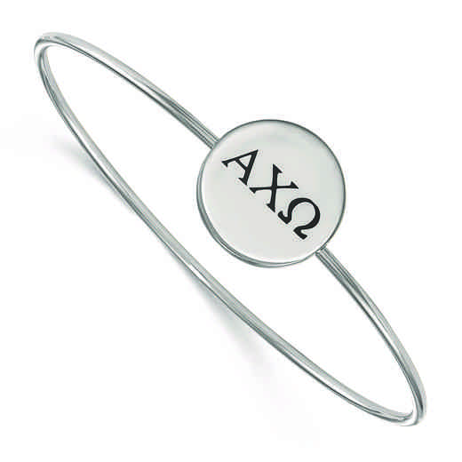 SS025ACO-7: StrlngSlvr LogoArt Alpha Chi Omega Enameled Slip-on Bangle
