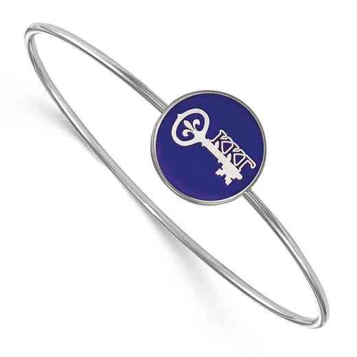 SS049KKG-7: StrlngSlvr LogoArt Kappa Kappa Gamma Enameled Slip-on Bangle