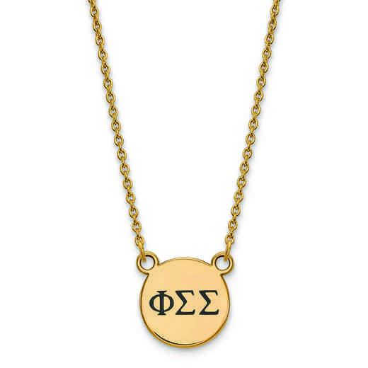 GP016PSS-18: SS w/GP LogoArt Phi Sigma Sigma Sm Enl Pend w/Necklace