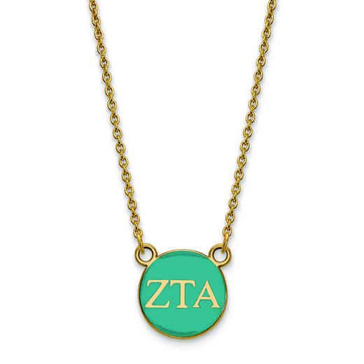 GP029ZTA-18: SS w/GP LogoArt Zeta Tau Alpha Sm Enl Pend w/Necklace