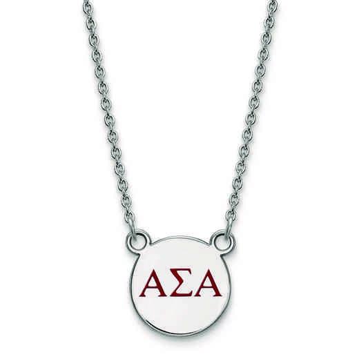 SS027ASI-18: SS LogoArt Alpha Sigma Alpha Sm Enl Pend w/Necklace