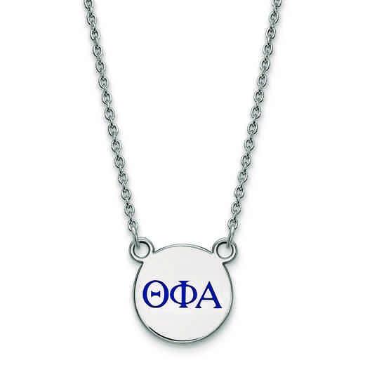 SS027TPA-18: SS LogoArt Theta Phi Alpha Sm Enl Pend w/Necklace