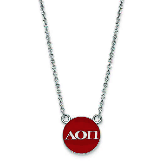 SS029AOP-18: SS LogoArt Alpha Omicron Pi Sm Enl Pend w/Necklace