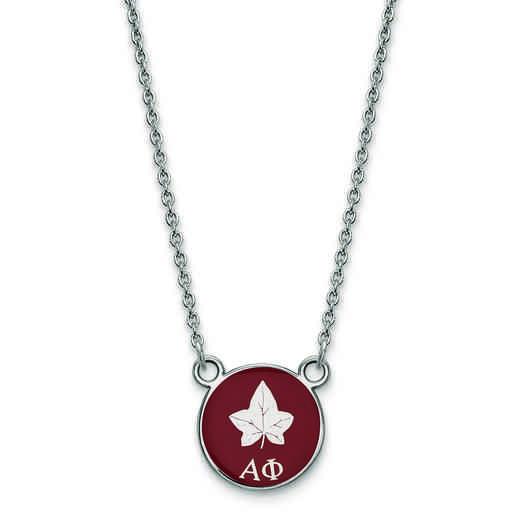 SS042APH-18: SS LogoArt Alpha Phi Sm Enl Pend w/Necklace