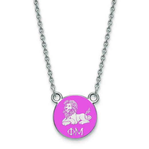 SS042PHM-18: SS LogoArt Phi Mu XS Enl Pend w/Necklace