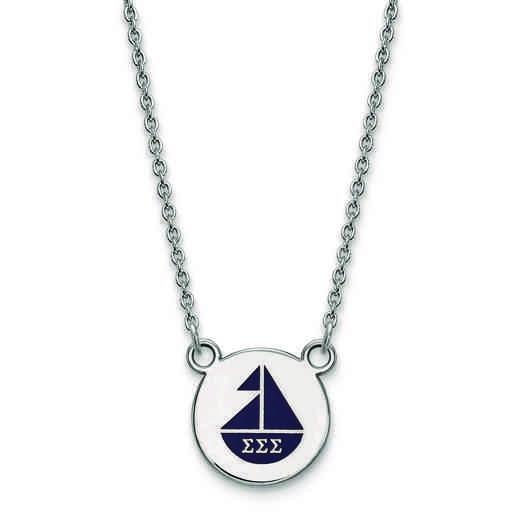 SS044SSS-18: SS LogoArt Sigma Sigma Sigma Sm Enl Pend w/Necklace