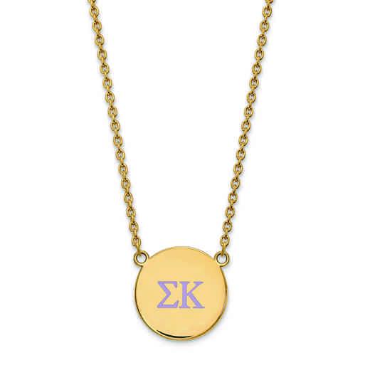 GP028SKP-18: SS w/GP LogoArt Sigma Kappa Large Enl Pend w/Necklace