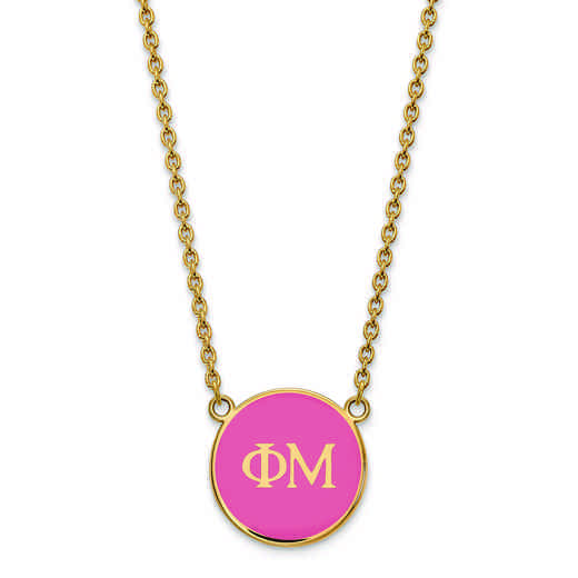 GP030PHM-18: SS w/GP LogoArt Phi Mu Large Enl Pend w/Necklace
