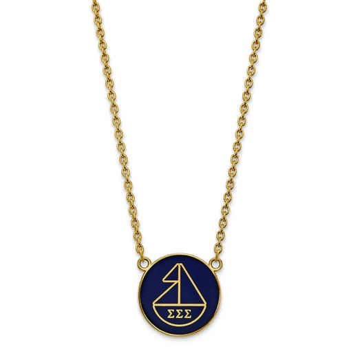 GP043SSS-18: SS w/GP LogoArt Sigma Sigma Sigma Large Enl Pend w/Necklace