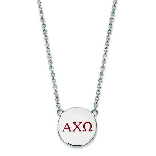 SS028ACO-18: SS LogoArt Alpha Chi Omega Large Enl Pend w/Necklace