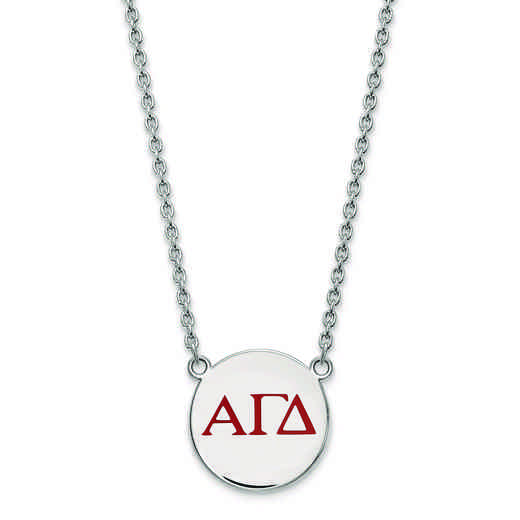 SS028AGD-18: SS LogoArt Alpha Gamma Delta Small Enl Pend w/Necklace