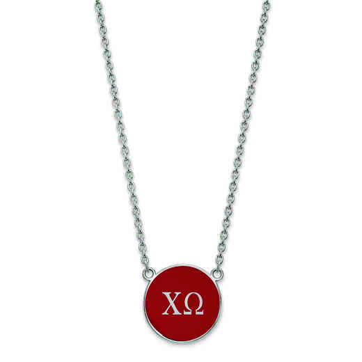 SS030CHO-18: SS LogoArt Chi Omega Large Enl Pend w/Necklace