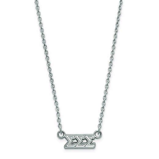 SS006SSS-18: SS LogoArt Sigma Sigma Sigma XS Pend w/Necklace