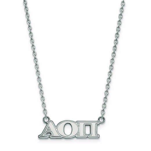 SS007AOP-18: SS LogoArt Alpha Omicron Pi Medium Pend w/Necklace