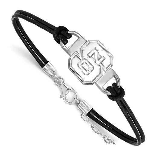 SS023NCS-7: North Carolina State University Leather Bracelet