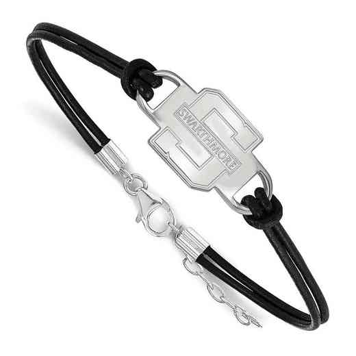 SS003SWC-7: Swarthmore College Leather Bracelet