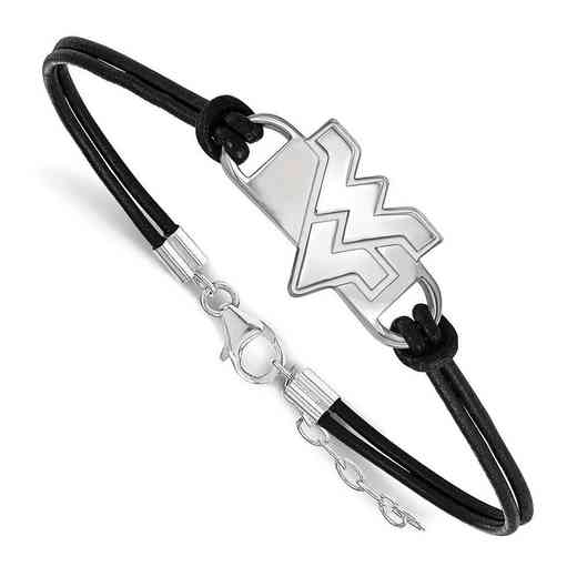 SS023WVU-7: West Virginia University Leather Bracelet
