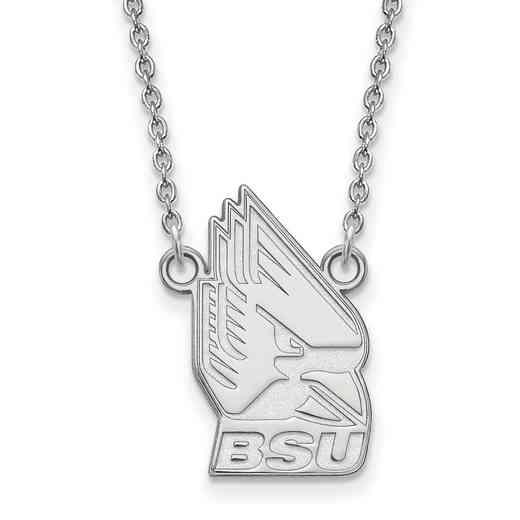 SS012BSU-18: SS LogoArt Ball St Univ LG Pendant w/Necklace
