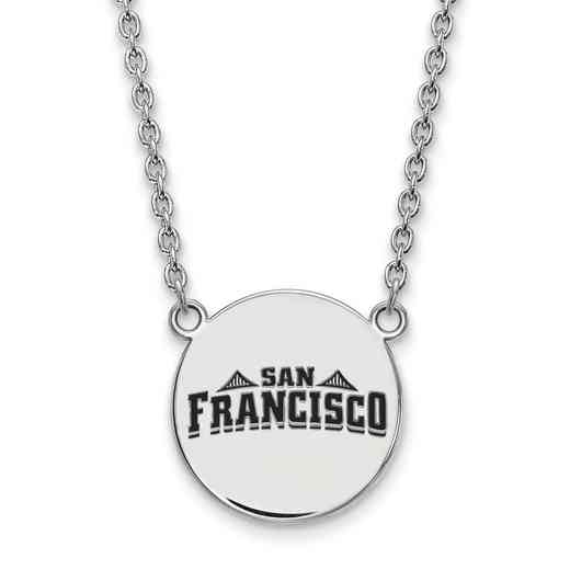 SS025USF-18: SS LogoArt Univ of San Francisco LG Enamel Disc Neckl