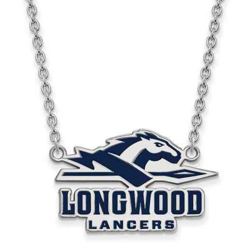 SS011LOC-18: SS LogoArt Longwood Univ LG Enamel Pendant w/Necklace