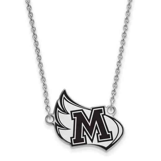 SS007MER-18: SS LogoArt Meredith College LG Enamel Pendant w/Necklace
