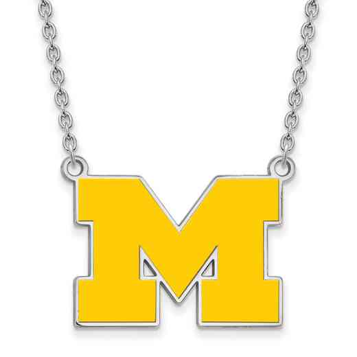 SS017UM-18: SS LogoArt Michigan (Univ Of) LG Yellow Enl Pend w/Necklace