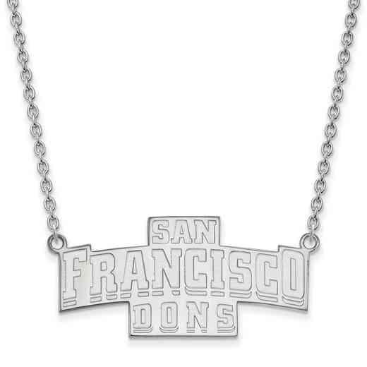 SS011USF-18: SS LogoArt U of San Francisco LG Enamel Pendant w/Necklace