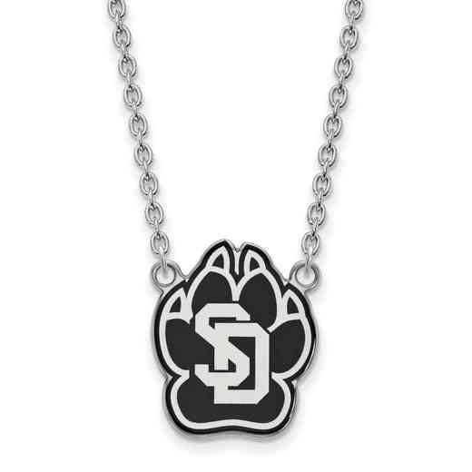 SS012USD-18: SS LogoArt U of South Dakota LG Enamel Pendant w/Necklace